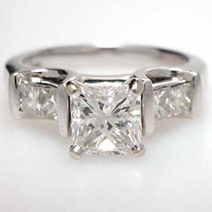 1 Carat Princess Cut Diamond Three Stone Engagement Ring Solid 14K White Gold