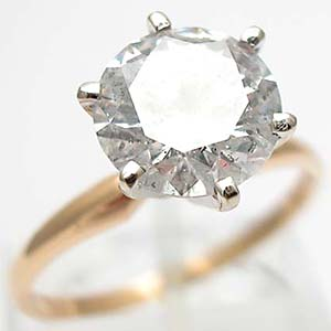 Vintage Engagement Ring 2 Carat Diamond Solitaire Solid 14K Gold