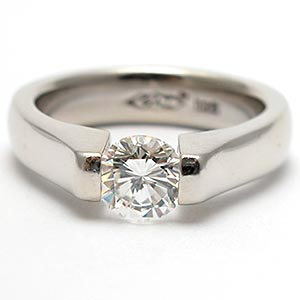Tension Set Diamond Solitaire Engagement Ring Solid 14K White Gold