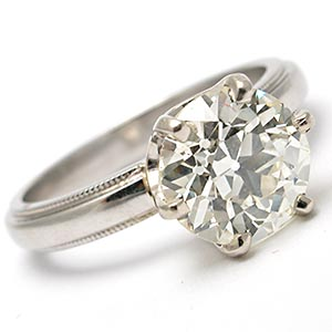 2.06 Carat Old European Cut Diamond Solitaire Engagement Ring Solid Platinum