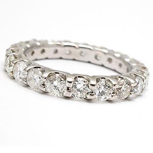 Estate Diamond Eternity Band Wedding Ring Solid 14K White Gold