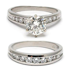 Estate Engagement Ring Diamond Bridal Set Solid Platinum