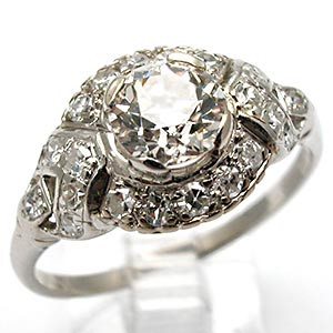 Antique Engagement Ring Old European Cut Diamond Solid Platinum
