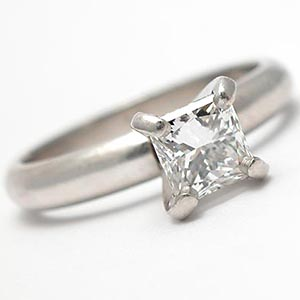 Princess Cut Diamond Solitaire Engagement Ring Solid Platinum