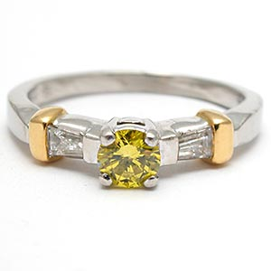 Estate Irradiated Yellow Diamond Engagement Ring Solid Platinum & 18K Gold