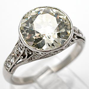 Art Deco Antique Engagement Ring Old European Cut Diamond Solid Platinum