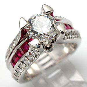 Natural Ruby & Diamond Engagement Ring Semi Mount Solid Platinum
