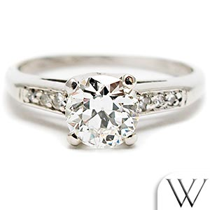 Antique Transitional Cut Diamond Engagement Ring Solid Platinum