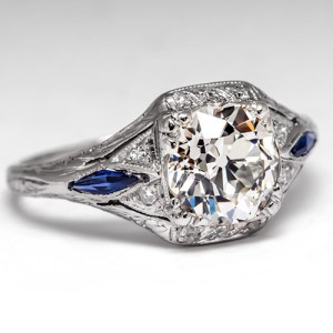 Art Deco Antique Engagement Ring with Synthetic Sapphires