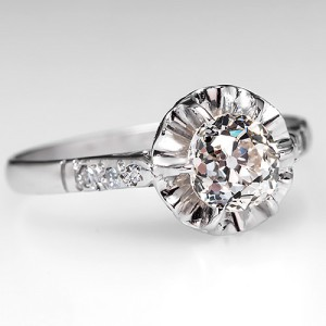 EGL Mine Cut Diamond Engagement Ring