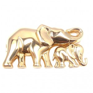 18k Yellow Gold Mother and Child Elephant Brooch Pin by Cartier. Photo Source: 1stDibs.