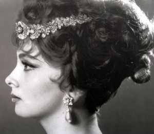 Italian Actress Gina Lollobrigida Wears Her Bulgari Diamond Necklace as a Tiara.