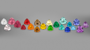 A Rainbow of Trilliant-Cut Gemstones on Display at the GIA Musuem. Photo by Robert Weldon, Courtesy of Roz & Gene Meieran Collection. Photo Source: GIA Museum.