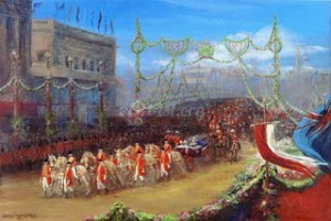 The Royal Procession Passing Over London Bridge, 20 June 1897. Reproduction of Helen Thornycroft's painting. Photo Source: Art-ist.