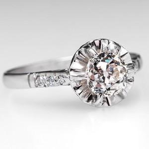 EGL Mine Cut Diamond Engagement Ring in Platinum