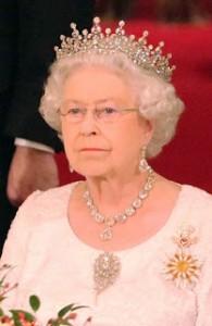 Queen Elizabeth II wearing her diamond. Fringe Brooch. Photo Credit: Order of Splendor Blog.