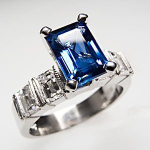 Simon G Emerald-Cut Sapphire Engagement Ring