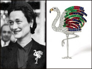 Wallis Simpson, the Duchess of Windsor, wears her Cartier Flamingo Brooch. Photo credit: Today.