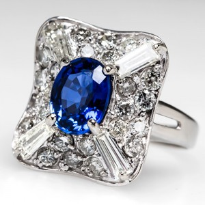 Sapphire Cocktail Ring with Baguette & Round Diamonds
