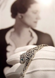 Wallis Simpson's Onyx & Diamond Panther Bracelet by Cartier. Source: AP Photo/Kirsty Wigglesworth.