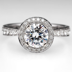 Get the Look! Diamond Halo Engagement Ring with Pave Band. Photo © 2014 EraGem Jewelry.