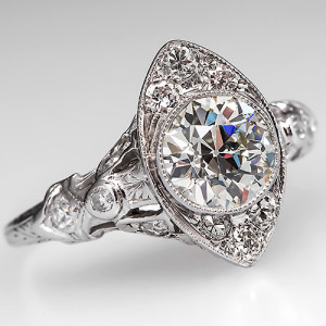 Get the Art Deco Look! with this Art Deco Diamond and Platinum Engagement Ring. Photo © 2014 EraGem Jewelry.