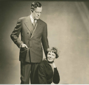 Portrait of NY publicist George Palmer Putnam and his wife, Amelia Earhart, c. 1930s in the Purdue University archives. Photo is in the public domain.