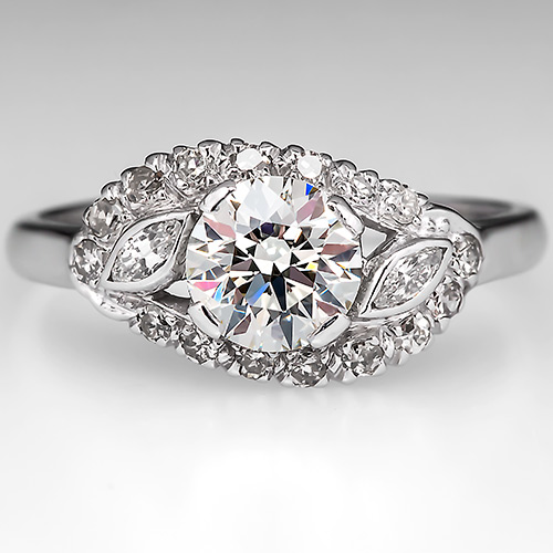 Look Right Here at this Vintage 1 carat Transitional Diamond Engagement Ring