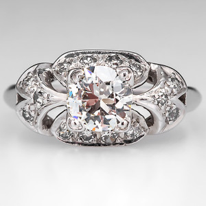 Capture the Essence! of French Romance with this Antique 1930s Engagement Ring featuring Old Euro and Old Single Cut Diamonds. Photo ©2014 EraGem Jewelry.