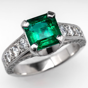 Colombian Emerald Engagement Ring with Diamond Accents