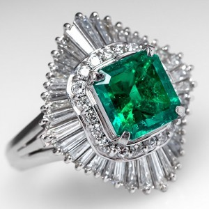 Capture the Essence! of Mid-Century Emerald Jewelry with this Emerald Ballerina Cocktail Ring. Photo ©2014 EraGem Jewelry.