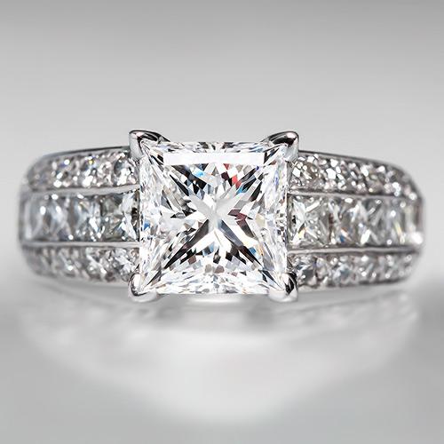 2 Carat Princess Cut Diamond En...
