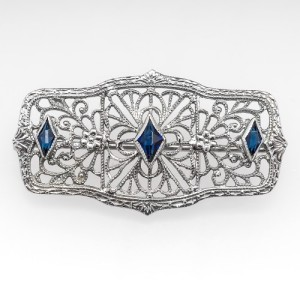 Art Deco Created Sapphire Filigree Brooch