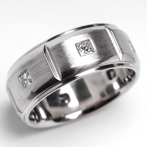 Mens Scott Kay Javlin Diamond Wedding Band Brushed Platinum