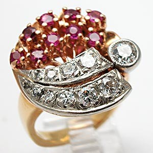 Retro Vintage Old European Cut Diamond and Ruby Ring