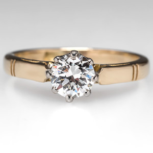 Capture the Essence! of 1940s Vintage with this 18k Gold and Diamond Engagement Ring. Photo ©2014 EraGem Jewelry.