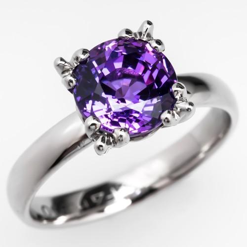 3 carat lab created purple sapphire engagement ring palladium - Purple Wedding Ring