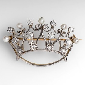 Antique Crown Brooch with Diamonds and Pearls