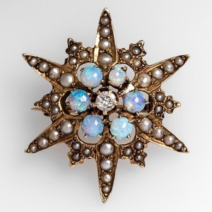 Antique Star Brooch with Diamonds Opals and Pearls