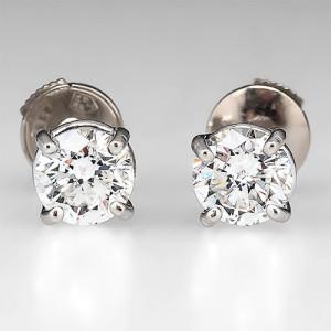 EGL Certified Diamond Stud Earrings 14k White Gold