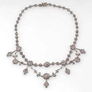 Floral Lavalier Diamond Necklace