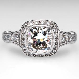 GIA 1.5 Carat Cushion-Cut Diamond Halo Engagement Ring