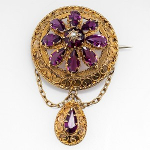 Victorian Rhodolite Garnet Brooch 18k Gold Antique