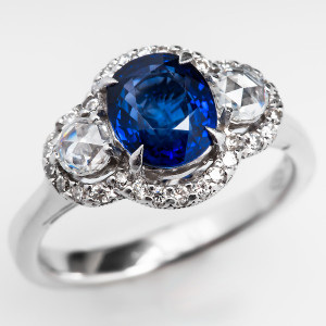 Capture the Essence! of Antique Rose Cut Diamonds with this Blue Sapphire Engagement Ring with Rose Cut Diamond Accents in 18k White Gold. Photo ©2014 EraGem Jewelry.