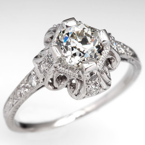 Capture the Essence! of the Delicacy of the Edwardian Period with this Edwardian Engagement Ring in Platinum and Diamonds. Photo ©2014 EraGem Jewelry.
