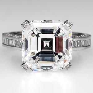 Capture the Essence! of Sensational Diamonds with this 7-Carat Asscher Cut Diamond Engagement Ring. Photo ©2014 EraGem Jewelry.