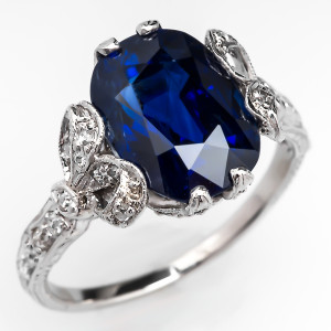 Capture the Essence! of September's Birthstone with this Gorgeous Vintage Filigree 4-Carat Blue Sapphire Engagement Ring. Photo ©2014 EraGem Jewelry.