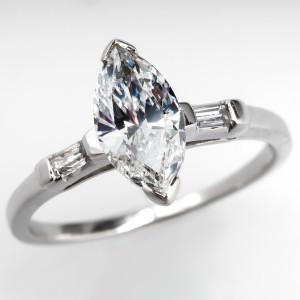 Capture the Essence! of Catherine Zeta-Jones' Marquise Diamond with this Vintage Marquise Diamond Engagement Ring. Photo ©2014 EraGem Jewelry.
