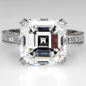 Capture the Essence! of Jennifer Aniston's Stunning 8-carat Engagement Ring with this 7-Carat Asscher Cut Diamond Engagement Ring. Photo ©2014 EraGem Jewelry.