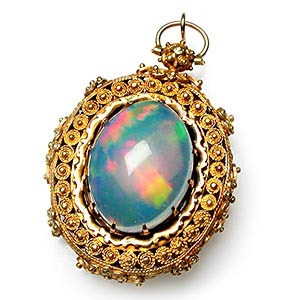 Capture the Essence! of Jelly Opal with this Victorian-Era Antique Jelly Opal Locket. Photo ©2014 EraGem Jewelry.